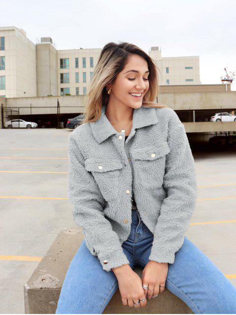 womens ZAFUL x Yasmine Bateman Snap Button Pockets Faux Fur Jacket - LIGHT GRAY M Mobile