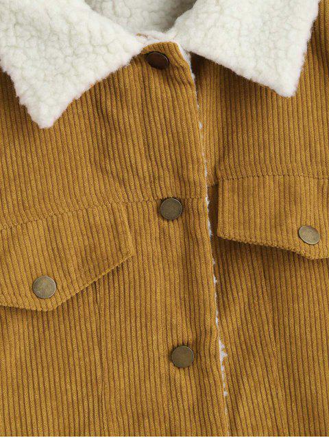 ladies ZAFUL Fuzzy Corduroy Jacket - SUN YELLOW L Mobile