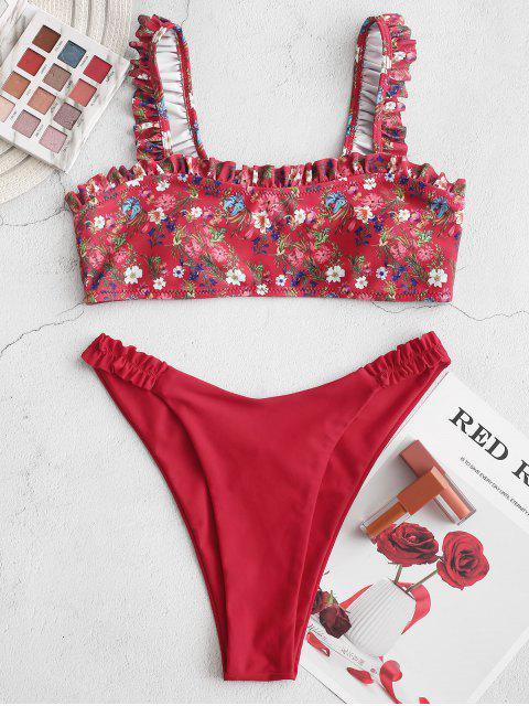 chic ZAFUL Ditsy Floral Frilled High Cut Bikini Swimsuit - CHERRY RED S Mobile