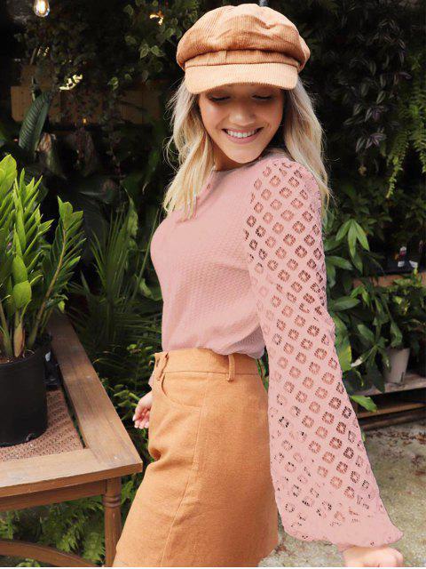 trendy ZAFUL x Yasmine Bateman Openwork Sleeves Solid Round Neck Tee - PINK ROSE S Mobile