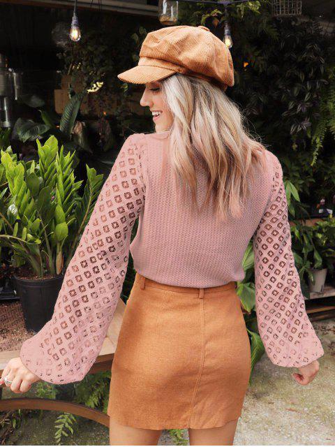 lady ZAFUL x Yasmine Bateman Openwork Sleeves Solid Round Neck Tee - PINK ROSE XL Mobile