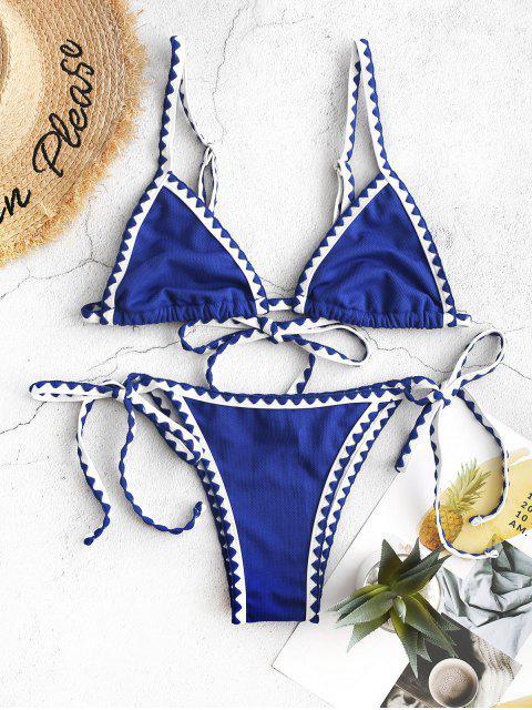 ZAFUL Maillot de Bain Bikini Texturé Cousu à Cordon - Bleu Cobalt M Mobile