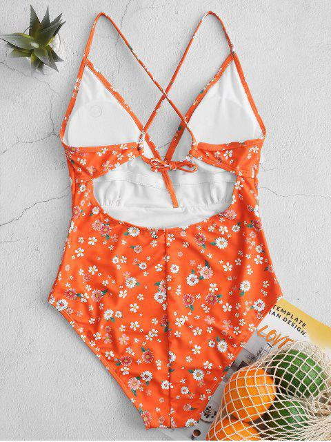 hot ZAFUL Ditsy Print Criss Cross One-piece Swimsuit - MULTI-A L Mobile