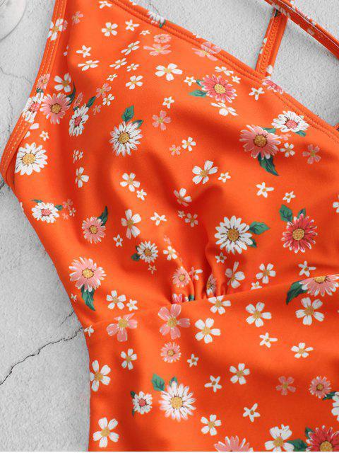 fancy ZAFUL Ditsy Print Criss Cross One-piece Swimsuit - MULTI-A M Mobile
