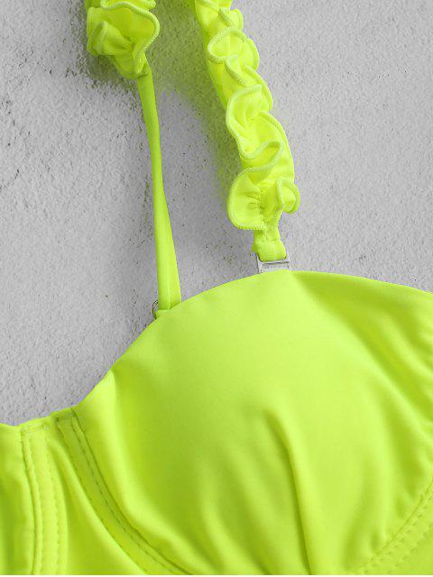 ZAFUL ata para arriba el neón Frilled High Cut Tankini del traje de baño - Monasterio L Mobile