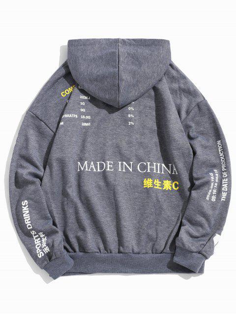 Chinesische Limonade Produktion Label Graphik Hängender Schulter Hoodie - Grau XL Mobile