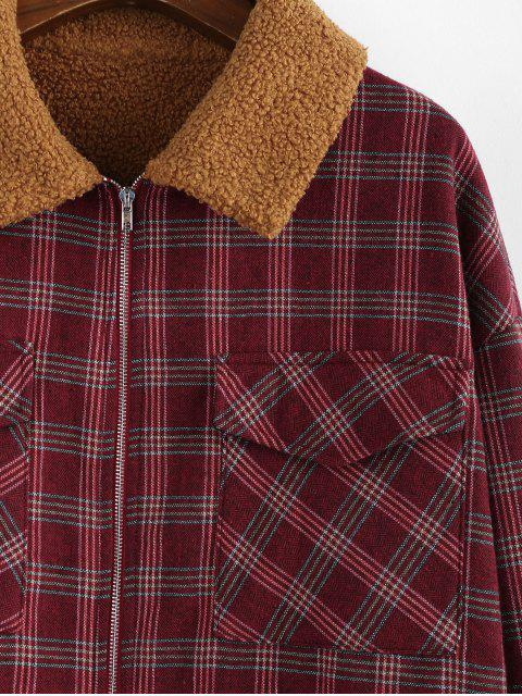 buy ZAFUL Plaid Faux Shearling Lined Zip Flap Pocket Jacket - RED WINE L Mobile