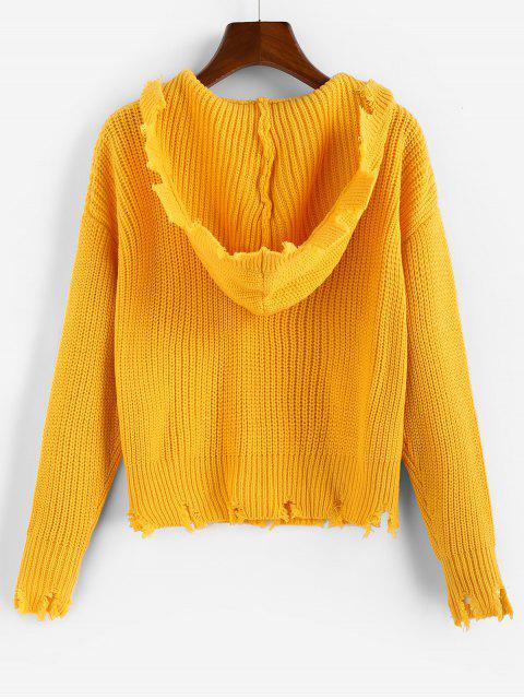 best ZAFUL Ripped Hooded Drop Shoulder Jumper Sweater - BEE YELLOW M Mobile