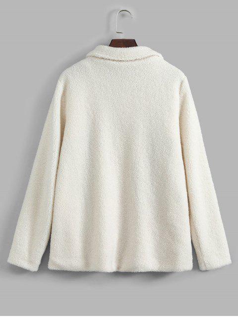 Colorblock拉鍊外套泰迪 - 白色 XL Mobile