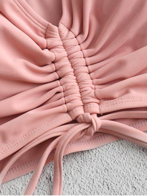 ZAFUL Cinched Colorblock volante de talle alto de Tankini del traje de baño - Rosa Claro S Mobile
