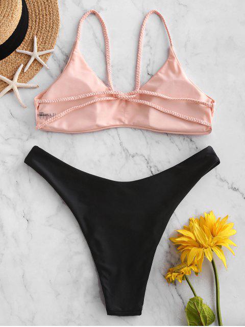 trendy ZAFUL Braided Strappy High Leg Bikini Swimsuit - LIGHT PINK M Mobile