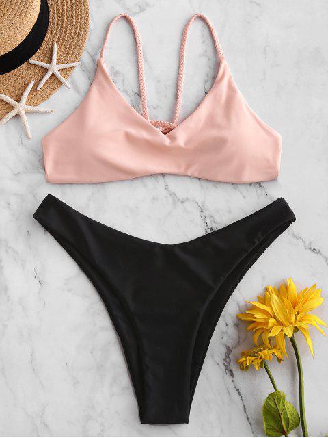 ZAFUL編織系帶高腿比基尼泳裝 - 淡粉色 S Mobile
