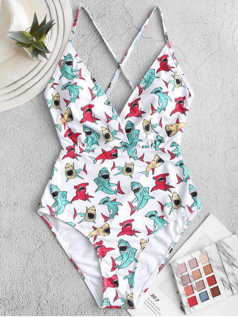 new ZAFUL Shark Print Criss Cross One-piece Swimsuit - MULTI-A XL Mobile