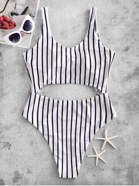 new ZAFUL Striped Ruffle Tied Monokini Swimsuit - MULTI-A XL Mobile