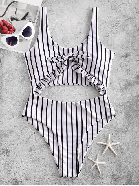 sale ZAFUL Striped Ruffle Tied Monokini Swimsuit - MULTI-A S Mobile