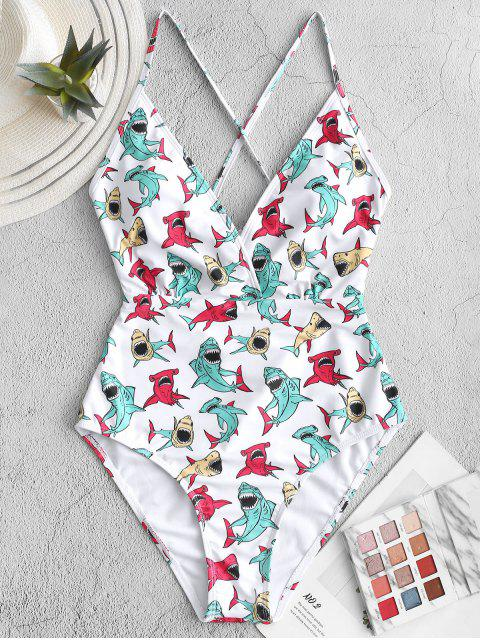 ladies ZAFUL Shark Print Criss Cross One-piece Swimsuit - MULTI-A L Mobile