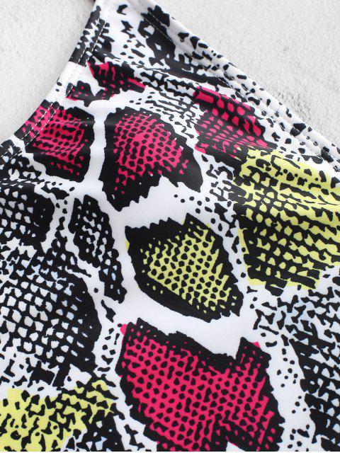 ZAFUL Snakeskin Criss Cross Backless einteiliger Badeanzug - Multi-A M Mobile