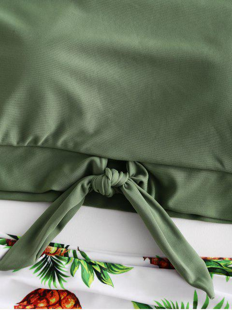 ZAFUL菠蘿打印結褶飾Tankini泳裝 - 迷彩綠色 M Mobile
