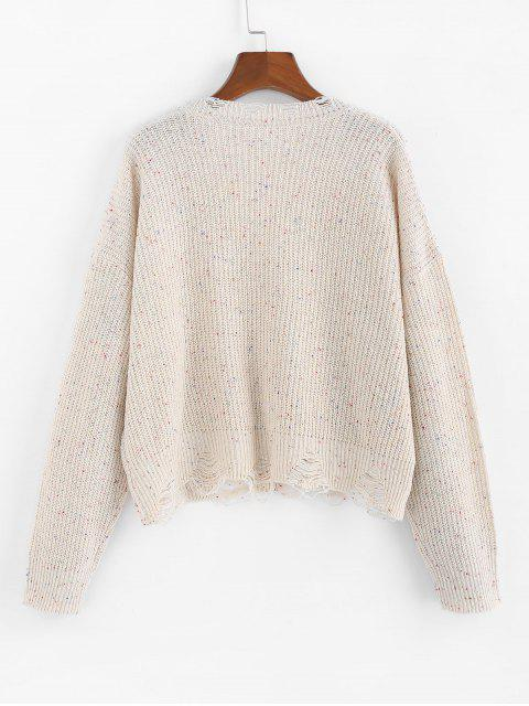 sale ZAFUL Confetti Drop Shoulder Distressed Sweater - WARM WHITE S Mobile