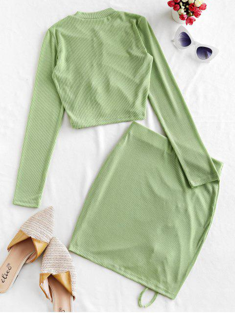 chic Rib-knit Cinched Mini Skirt Set - GREEN PEAS L Mobile