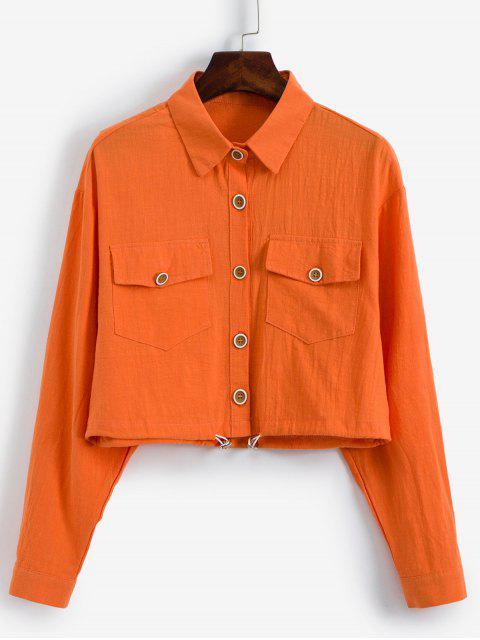 lady Toggle Drawstring Flap Pockets Shirt Jacket - ORANGE ONE SIZE Mobile