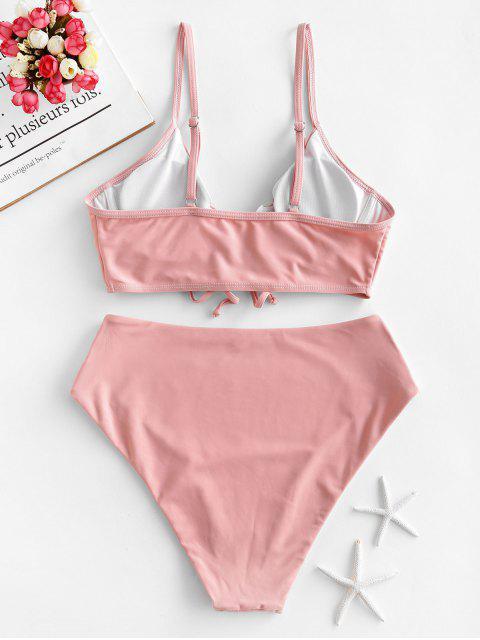 ZAFUL Maillot de Bain Tankini à Taille Haute à Lacets à Armature - Rose Léger  L Mobile