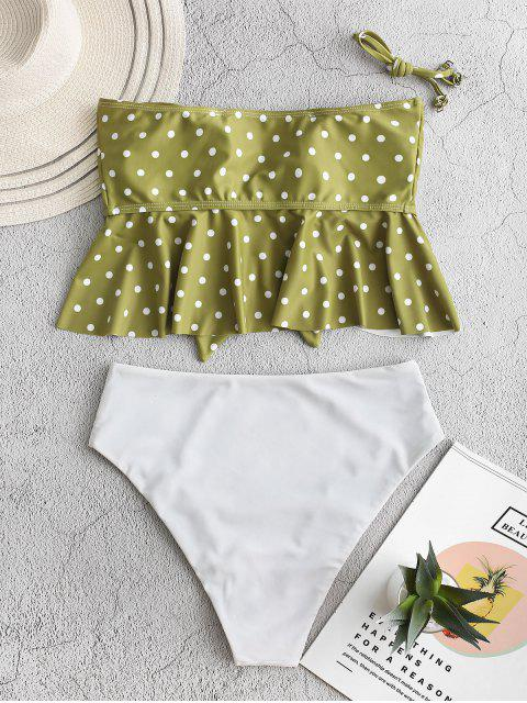 sale ZAFUL Polka Dot Tied Peplum Tankini Swimsuit - MULTI-A L Mobile