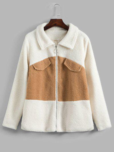 Colorblock Zipper Teddy Coat - White Xl