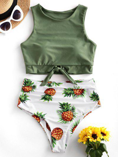 ZAFUL Pineapple Print Knot Ruched Tankini Swimsuit - Camouflage Green S