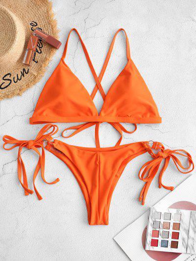 ZAFUL Criss Cross Padded String Bikini Swimsuit - Orange M