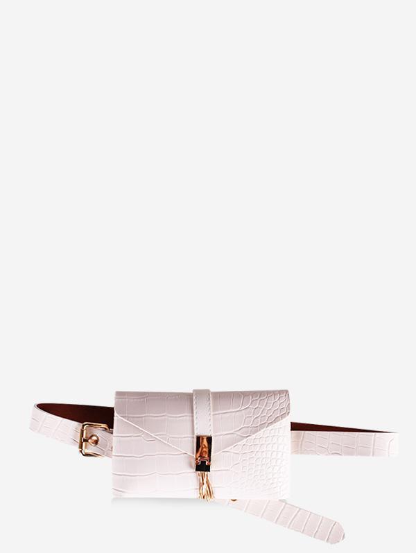 PU Leather Animal Printed Tassel Waist Bag, White