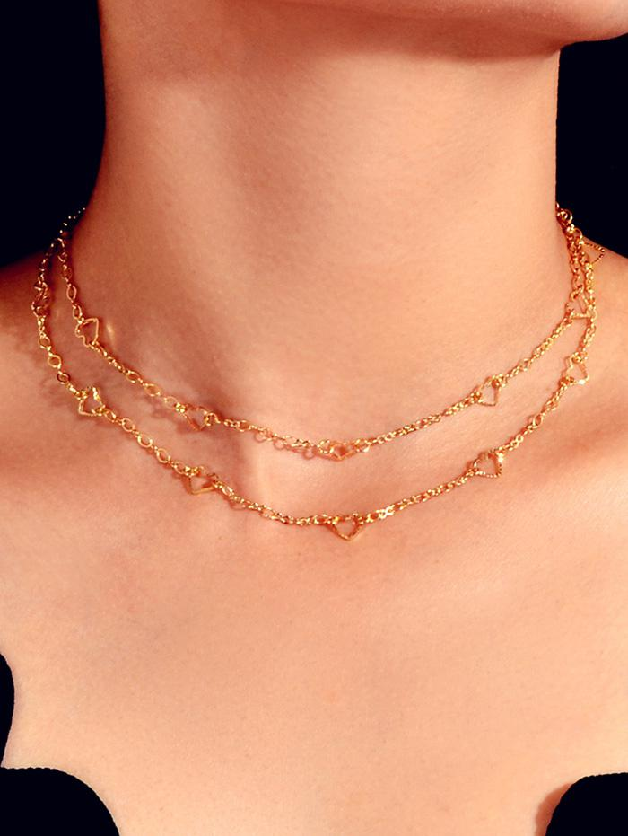 Heart Hollow Double Layers Necklace, Gold