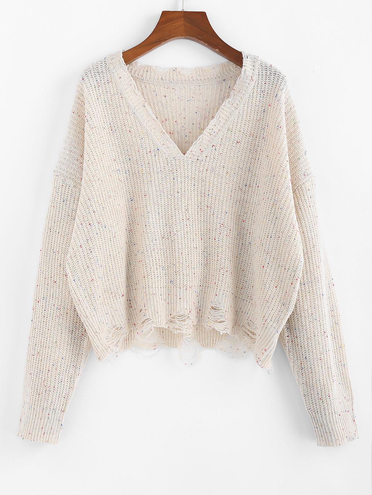 ZAFUL Confetti Drop Shoulder Distressed Sweater фото