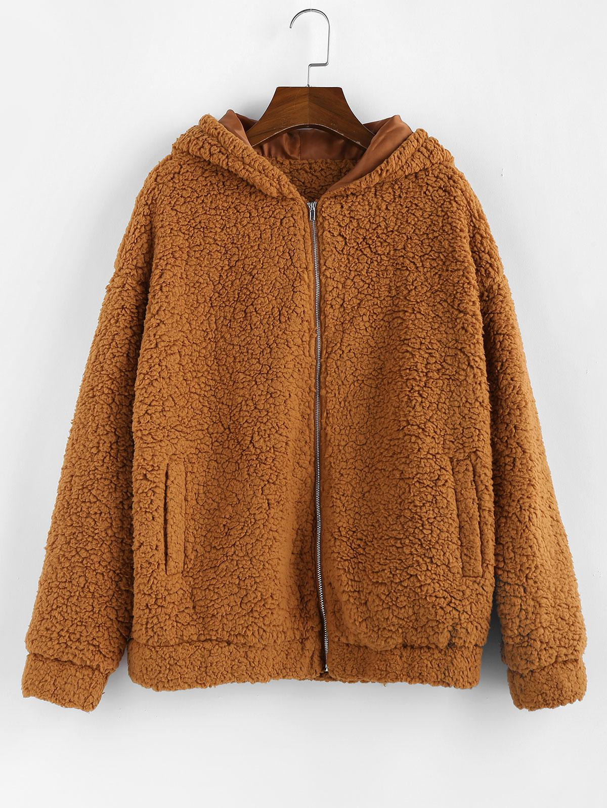ZAFUL Hooded Zip Up Pocket Fluffy Teddy Jacket