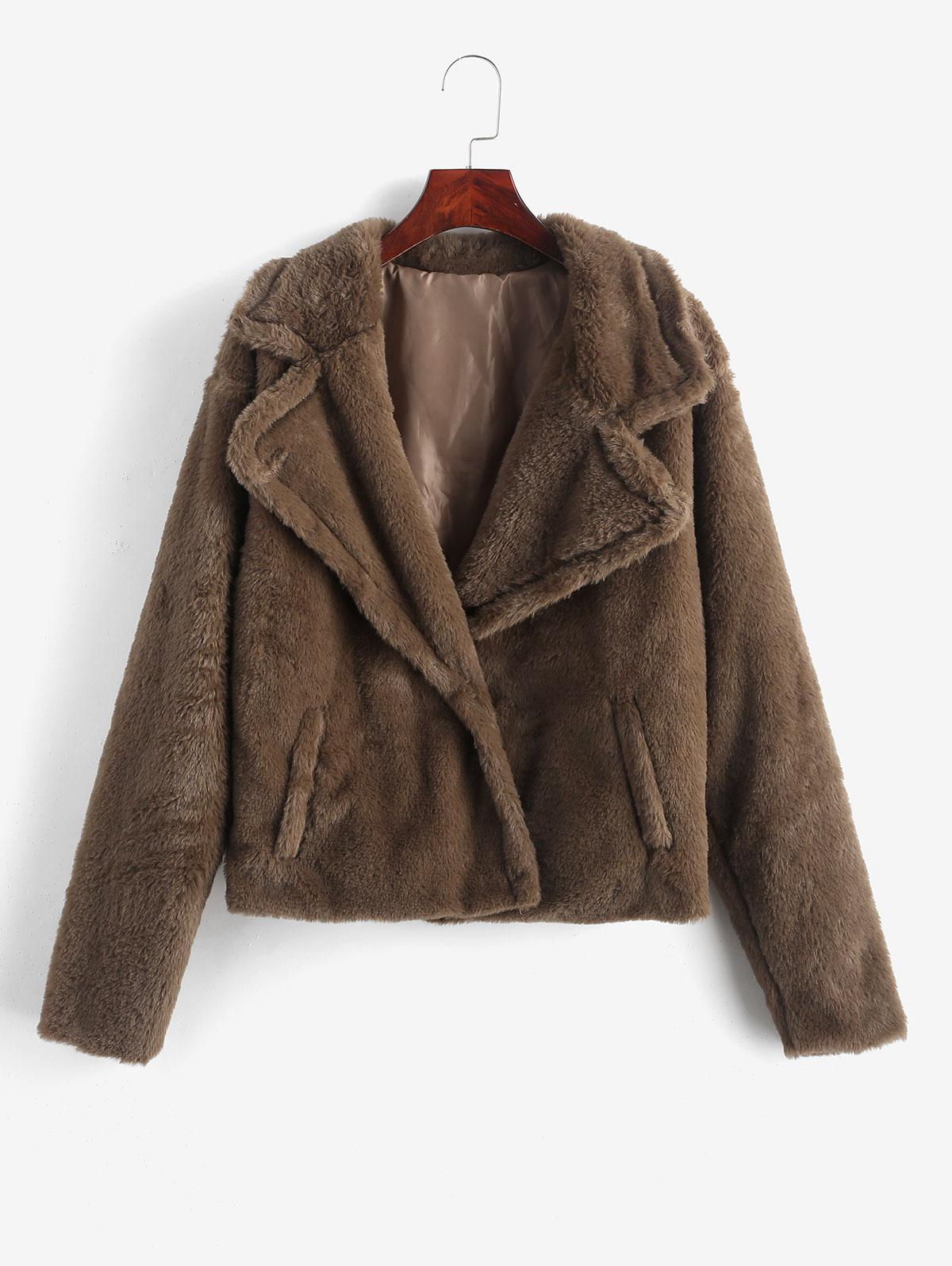 Faux Fur Turndown Collar Fluffy Pocket Jacket