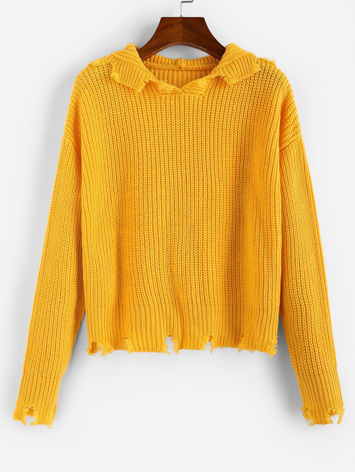 ZAFUL Ripped Hooded Drop Shoulder Jumper Sweater