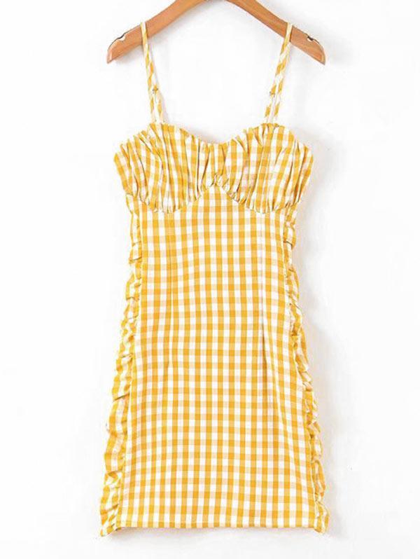 Ruched Plaid Cami Mini Dress