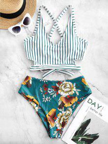 ZAFUL تقاطعات عقدة الزهور مخطط Tankini ملابس السباحة - ازرق مخضر M