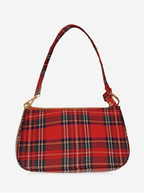 shops Retro Plaid Single Shoulder Bag - LAVA RED