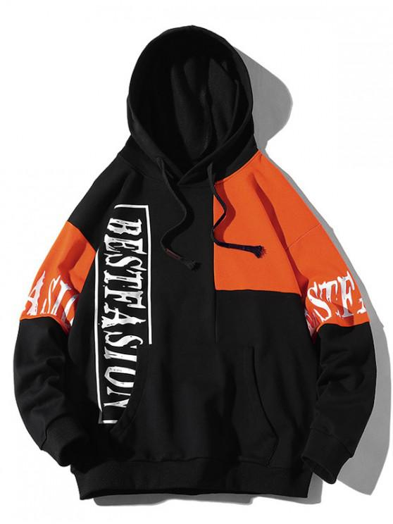unique Letter Graphic Contrast Color Splicing Kangaroo Pocket Hoodie - BLACK 2XL