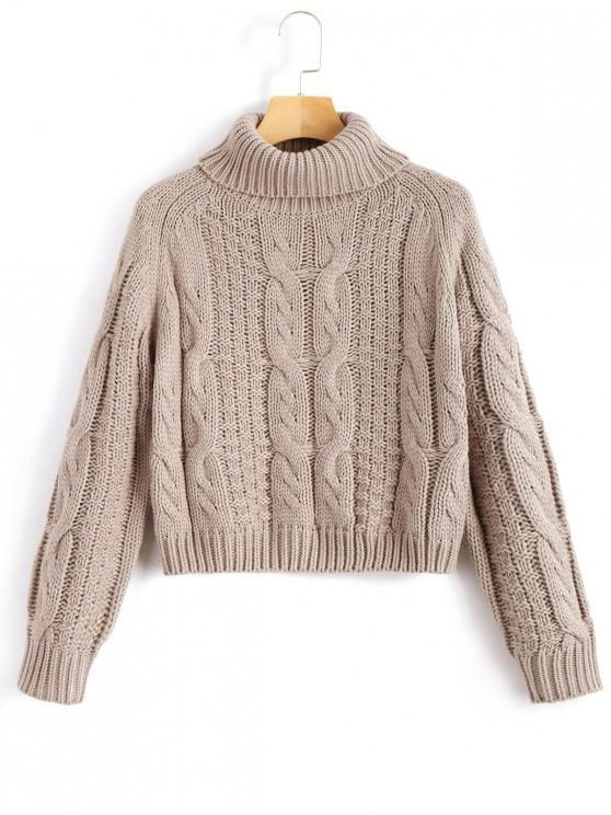 lady ZAFUL Turtleneck Cropped Cable Knit Sweater - LIGHT KHAKI L