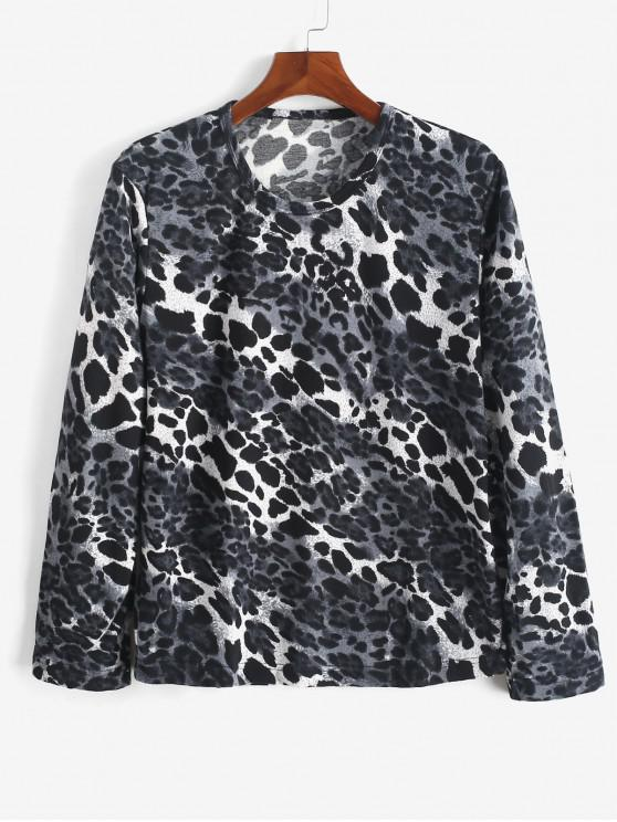 women Long Sleeves Casual Leopard Print T-shirt - MULTI M