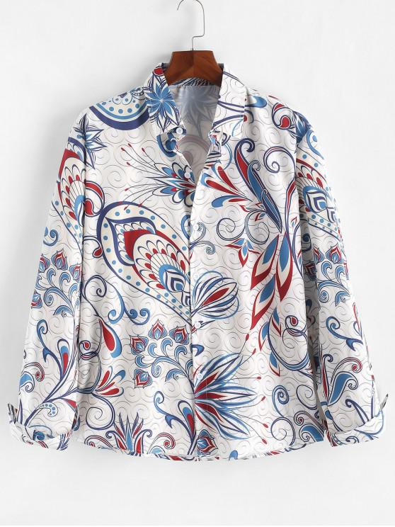chic Long Sleeves Floral Paisley Swirl Print Casual Shirt - MULTI L