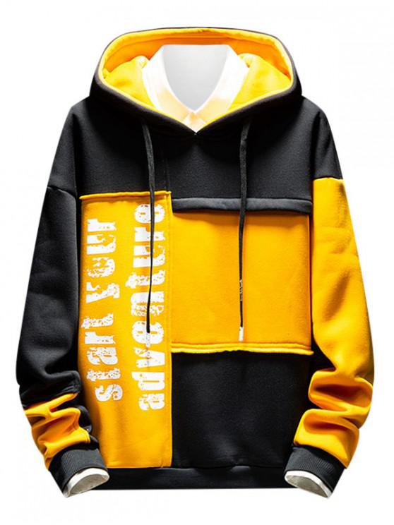 latest Letter Print Color-blocking Spliced Hoodie - MUSTARD M