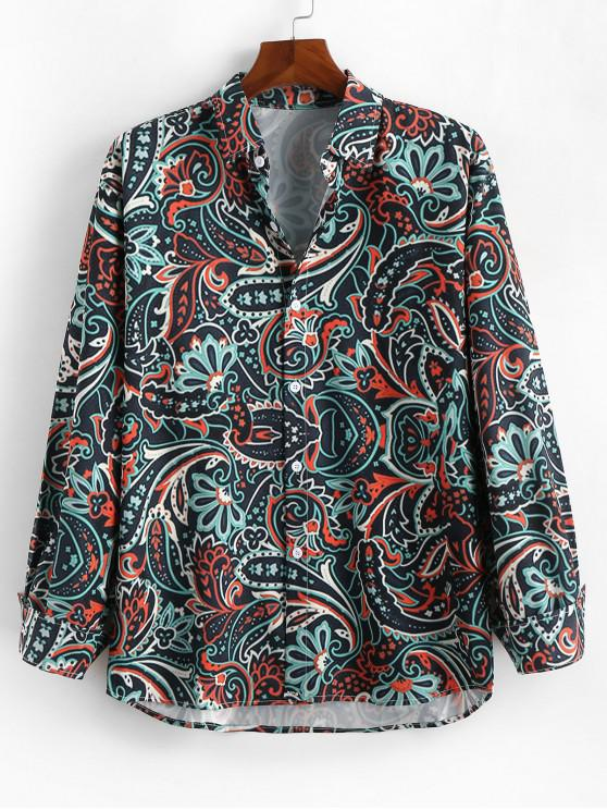 women Long Sleeves Paisley Floral Print Casual Shirt - MULTI L