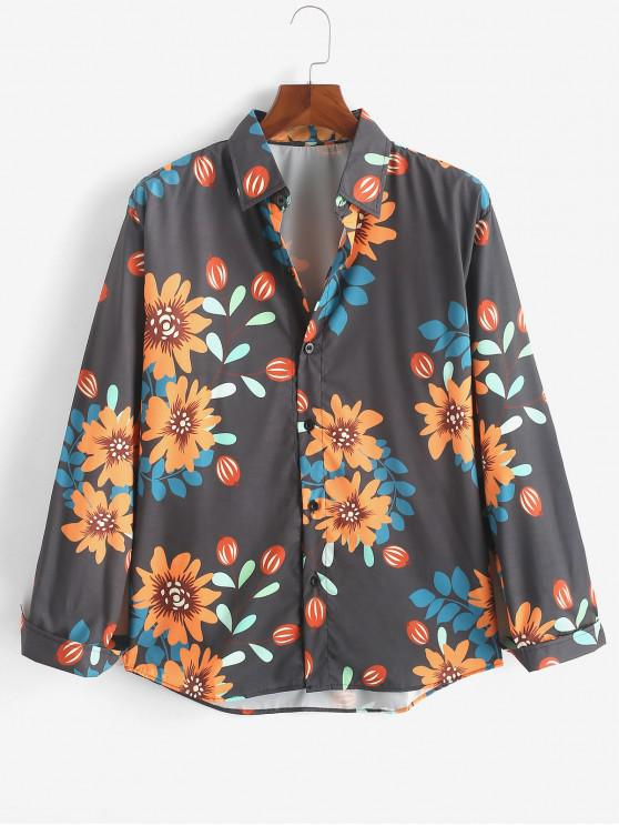sale Flower Allover Print Casual Button Shirt - MULTI L