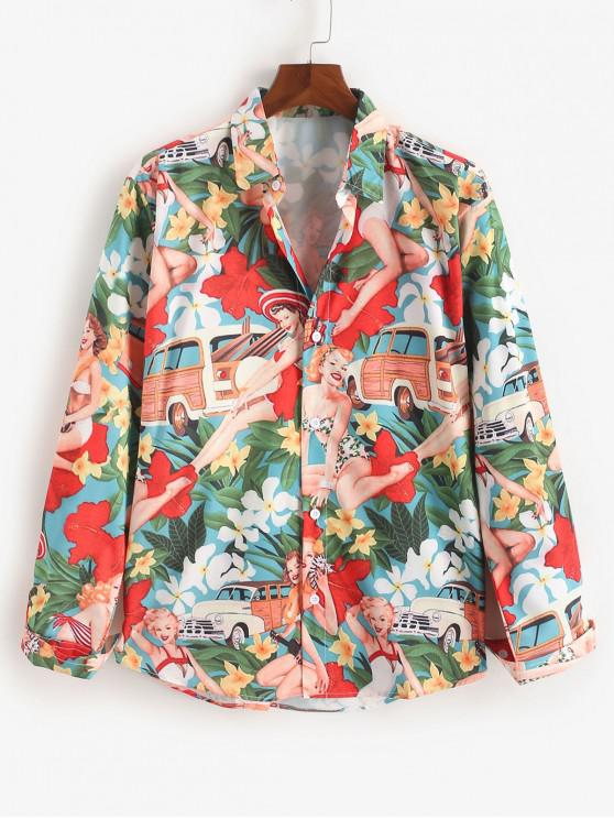 Camicia a bottone con stampa floreale delle Hawaii Beach Holiday - Multi Colori M
