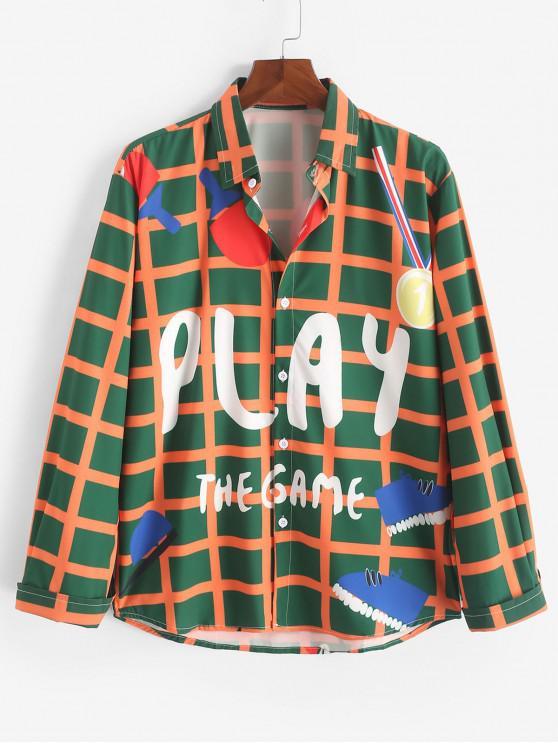shop Play The Game Plaid Graphic Print Button Shirt - MULTI 2XL