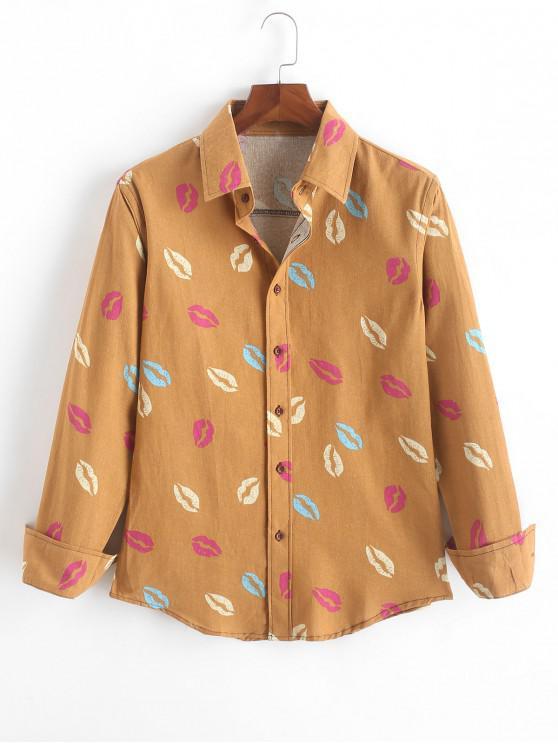 new Allover Lip Print Long Sleeves Casual Shirt - GOLDENROD M