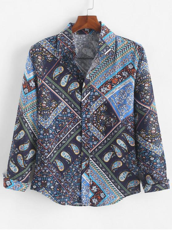 new Paisley Ditsy Geometric Tribal Print Casual Shirt - COBALT BLUE XS